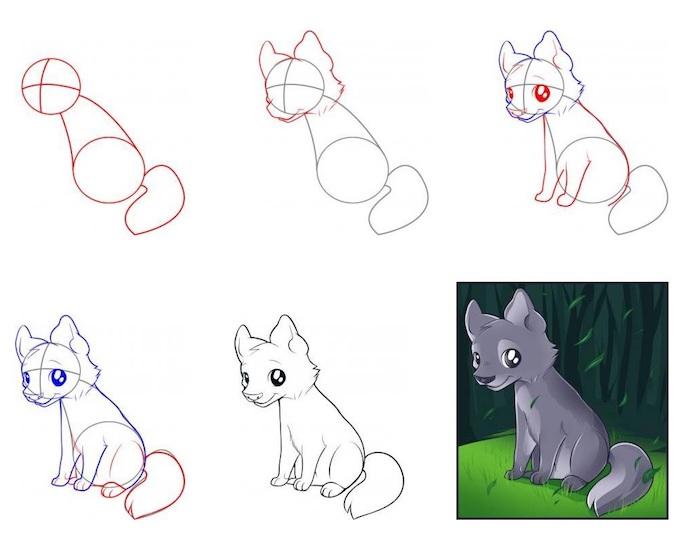 dessin enfant à faire facilement par étape, petit loup mignon, dessiner héro dessin animé