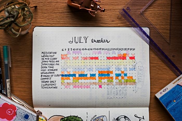 bullet journal tracker en forme de grille, un suivi des habitudes pour le mois avec code couleur
