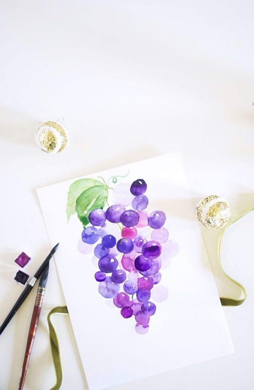 Raisins violets cool idée de simple dessin pour la fin de l'été, modèle de dessin, idée image dessin technique perspective