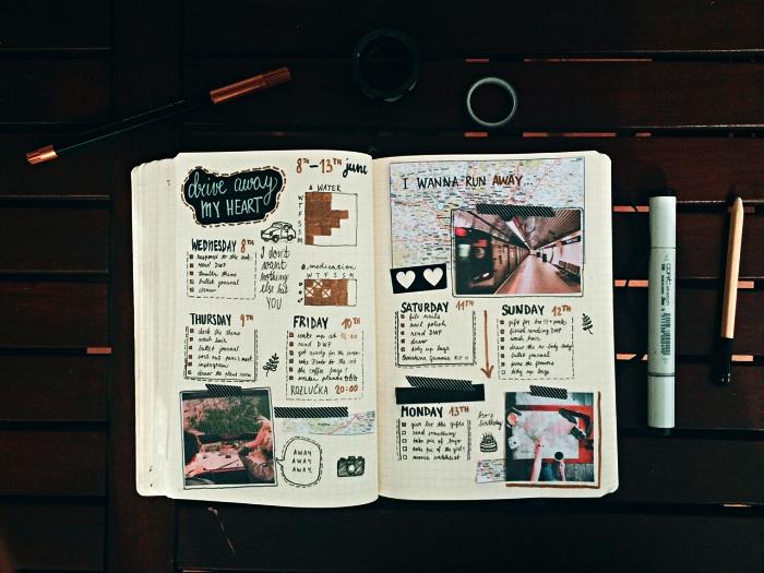 une double page du carnet bullet journal contenant le planning mensuel, décoré d'illustrations découpées sur le thème du voyage