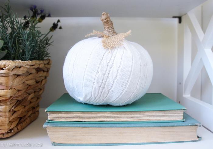 citrouille dans chaussette blanche, exemple de decoration theme automne sur une pile de livres et panier fleuri