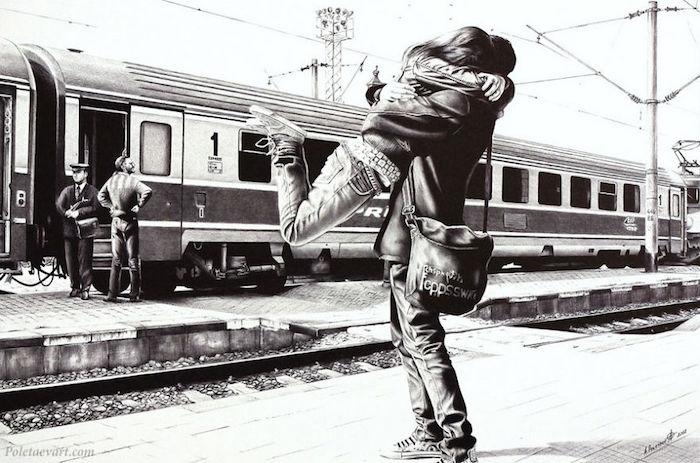 Station des trains, couple qui se caresse, photo-réaliste dessin pareille à une photo, comment bien dessiner, dessin réaliste