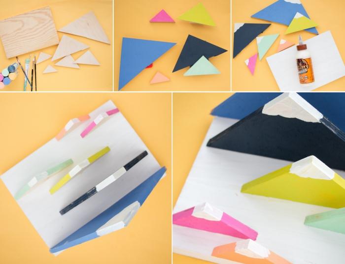 idée déco bureau avec objets DIY, exemple comment fabriquer un organisateur papier en planches bois colorées