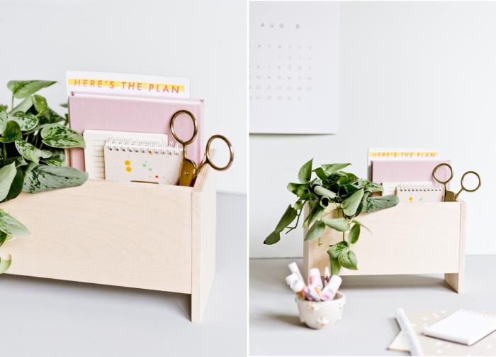 modèle de rangement papier bureau DIY, faire un organiseur papier et crayons en bois, tutoriel construction accessoire bureau