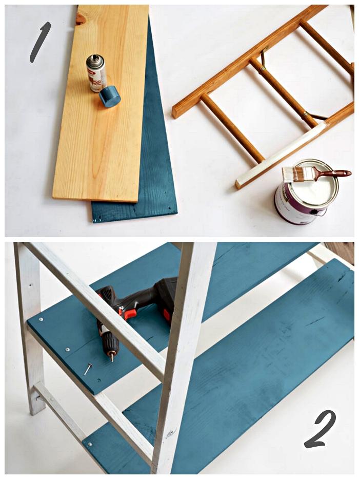tutoriel pour relooker une échelle en bois et la transformer en portant à vêtements stylé, dressing fait maison réalisé à partir d'une échelle