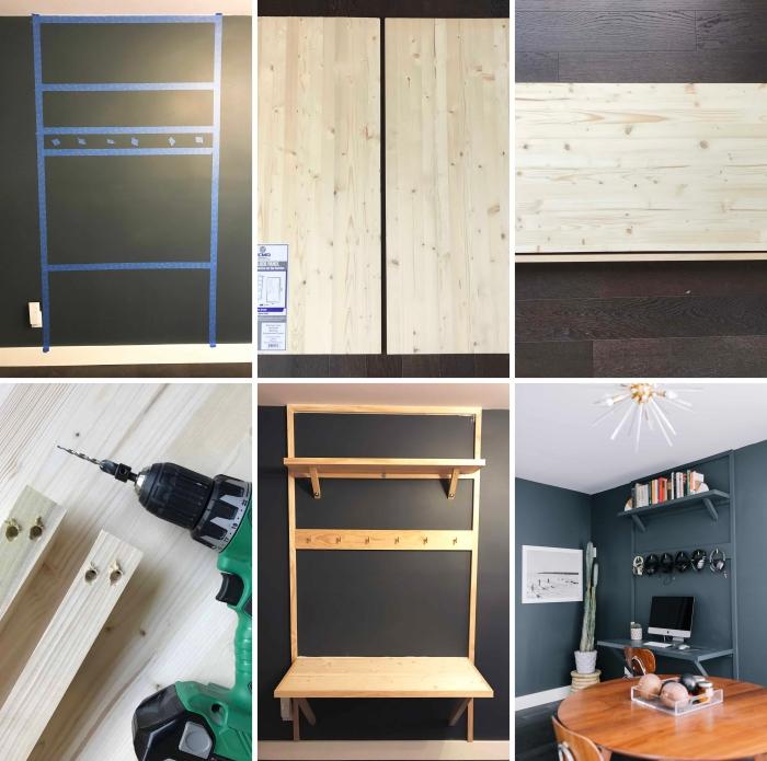 idée rangement avec étagère originale DIY, pas à pas pour construire un rangement mural pour espace bureau à domicile