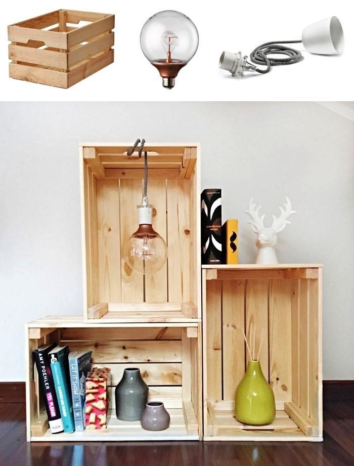etagere originale en caisses bois avec suspension ampoule, astuces ikea avec la caisse en pin knagglig