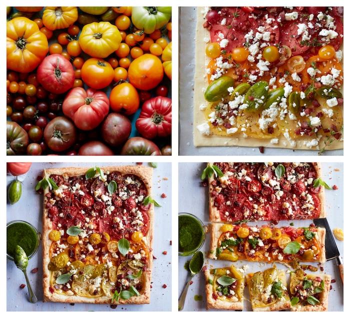 comment faire une tarte aux tomates et tomates cerise de couleur variées avec du fromage feta, feuilleté apéro fromage et crudités
