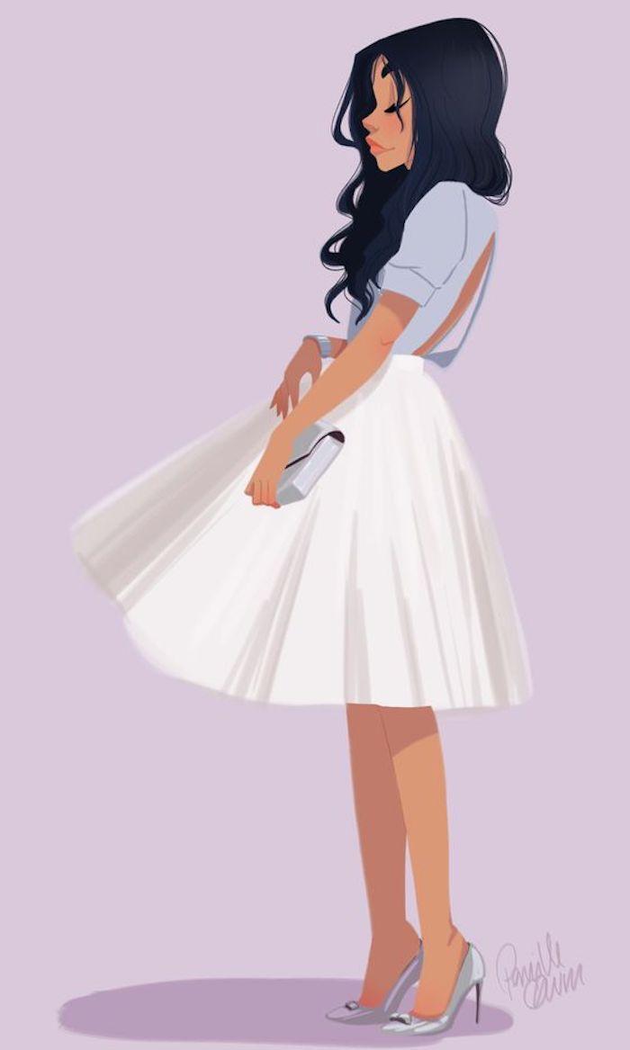 Mode fille jupe trapeze blanche, haut habillé bleu claire à dos nu, fille cheveux longs bouclés dessin, reproduire un dessin, beau dessin a dessiner