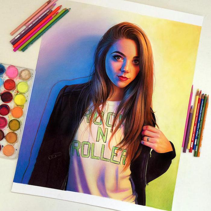 Coloré dessin de fille avec t-shirt rock et roller, idée dessin portrait réaliste, comment bien dessiner