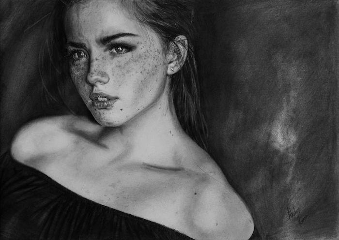 Comment dessiner une fille, apprendre a dessiner un visage, obsession avec le roux, dessin noir et blanc magnifique