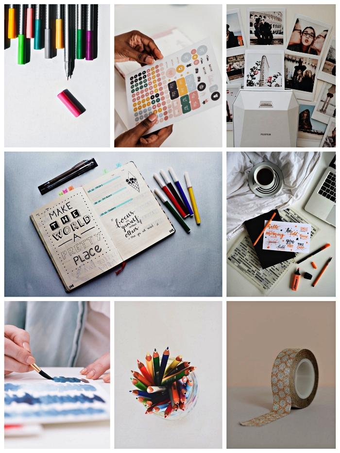 les fournitures nécessaire pour customiser son agenda ou bullet journal, idées pour décorer son bullet journal