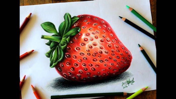 Une fraise fraiche, comment bien dessiner, illusion d optique dessin 3d de fraise coloré