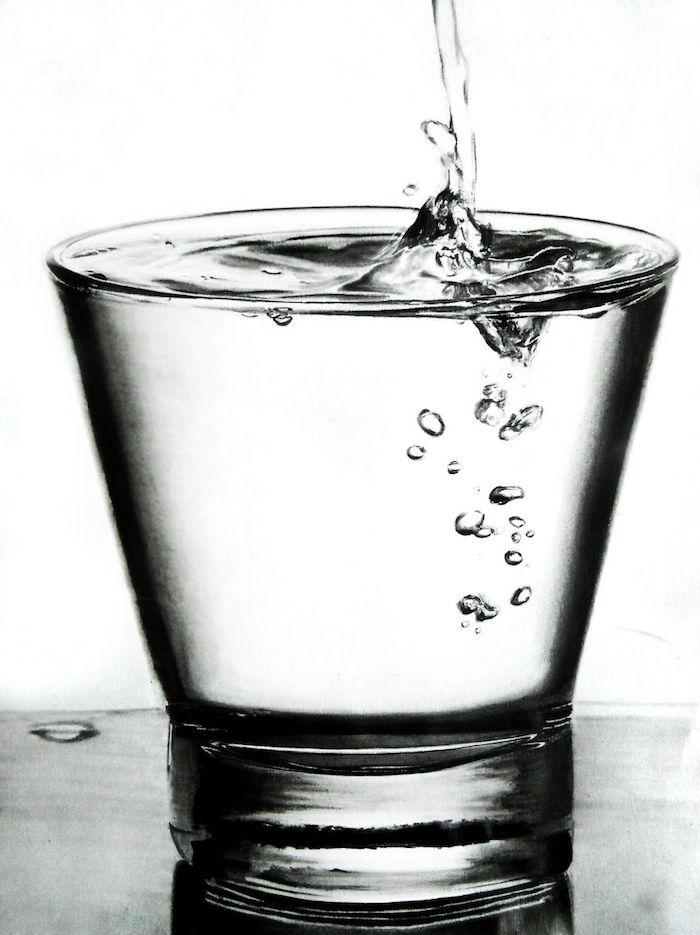 Goute d'eau dans la verre pleine d'eau, dessin 3d, dessin a faire facile, cool idée quoi dessiner originale idée