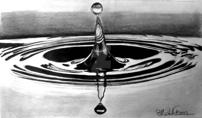 Originale idée de dessin au crayon, dessin goutte d'eau, devenir mieux, dessiner avec crayon noir sur papier blanc et faire des perspectives