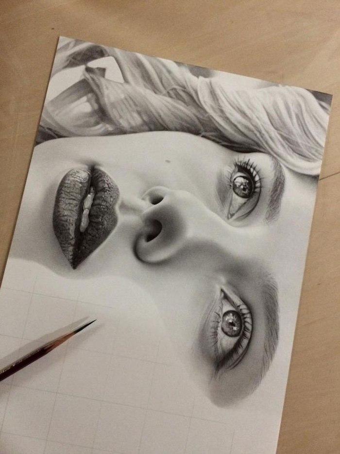 Magnifique image de dessin de visage, apprendre a dessiner un visage, dessin à commencer à faire pour apprendre mieux