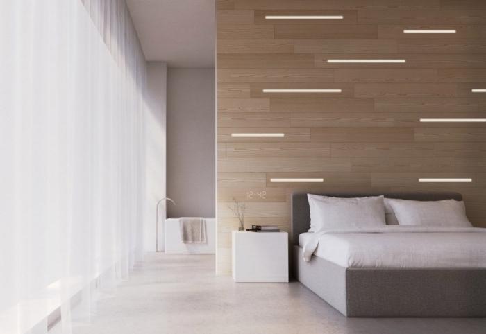 design chambre à coucher minimaliste en blanc et gris avec accents bois, modèle de lambris mural en bois clair