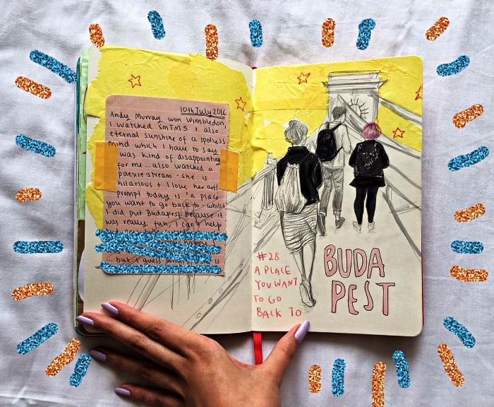 idées pour inclure ses souvenirs de voyage dans un bullet journal, carnet personnalisé décoré avec la technique du scrapbooking