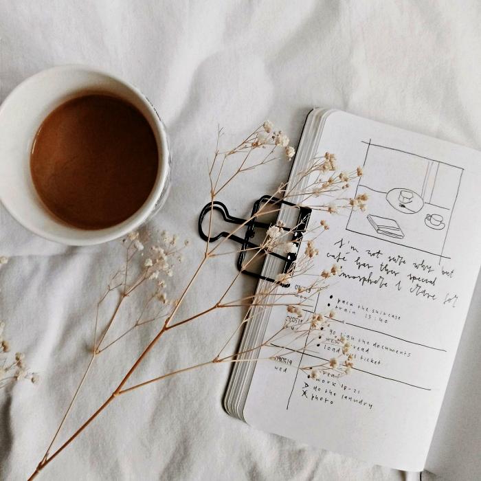 exemple bullet journal minimaliste avec une simple grille pour les tâches à accomplir, pince à papier noir pour bullet journal