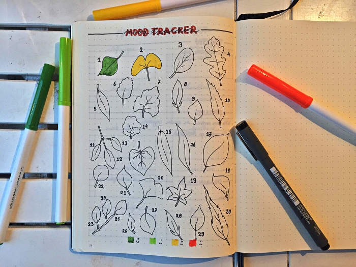idée bullet journal personnalisé avec page consacrée au suivi des humeurs, mood tracker feuilles à colorier