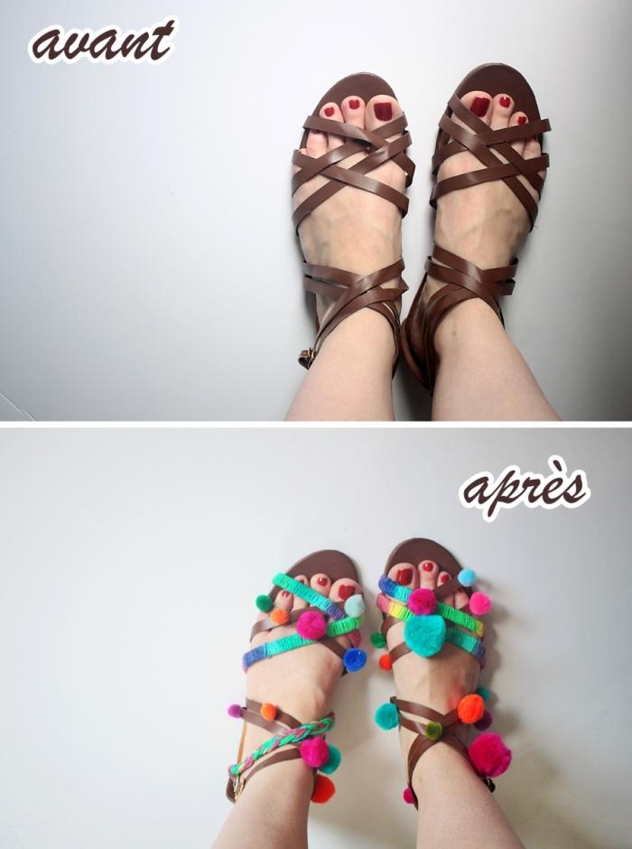 activité créative femme, modèle de sandales plates en cuir décorées avec pompons colorés, que faire avec pompons