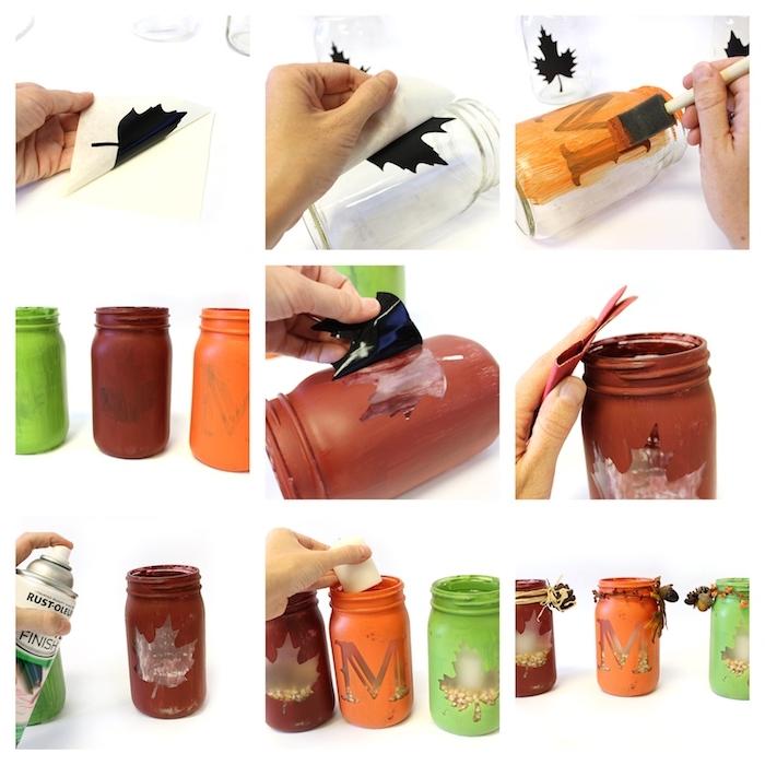 pots en verre cutomisés de peinture avec des fenetres en forme feuille morte et lettre m avec maïs et bougie à l intérieur