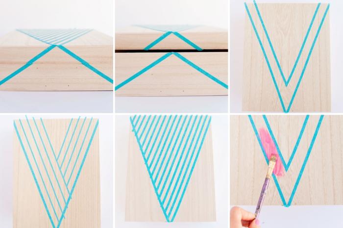 exemple comment décorer une boîte en bois avec peinture et washi tape, accessoire bureau à faire soi même