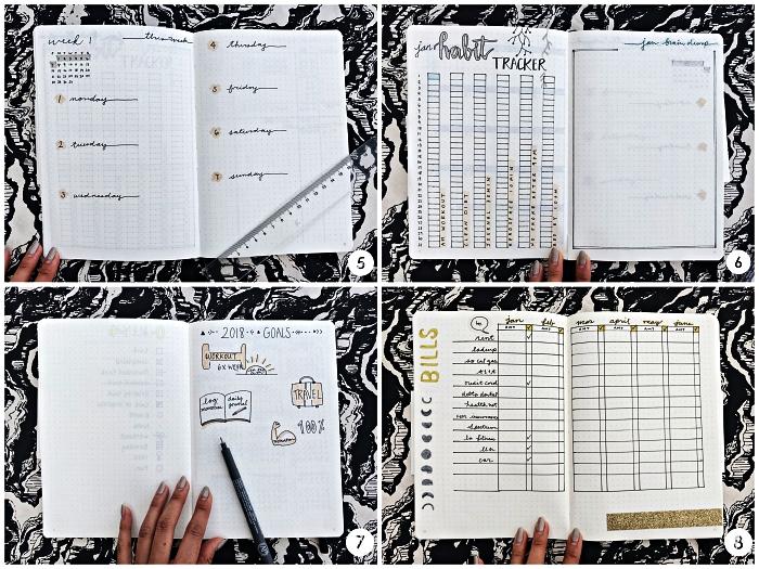 idée bullet journal à faire soi même avec agenda hebdomadaire, suivi d'humeurs et tableau des dépenses