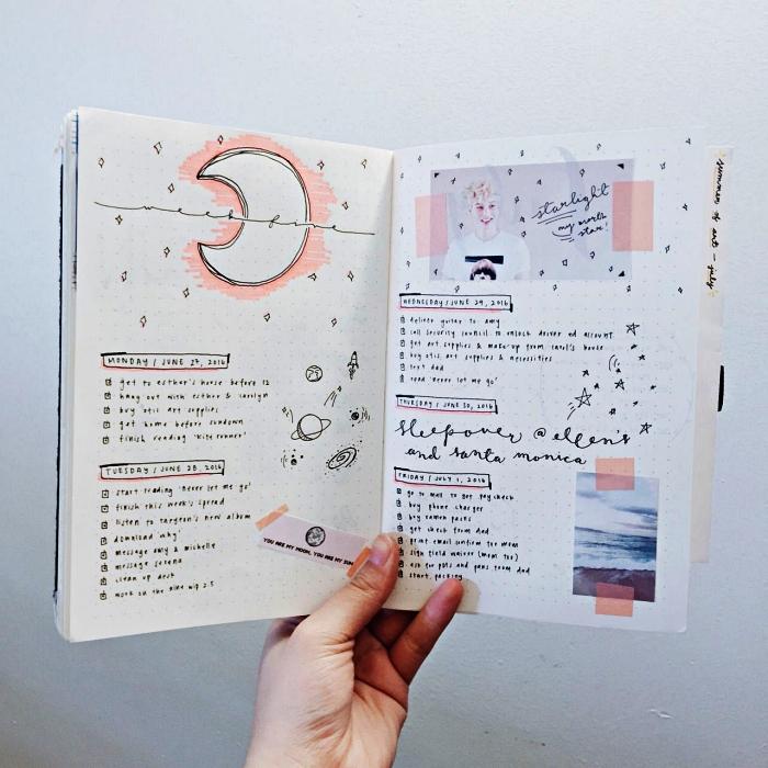 deco bullet journal sur le thèmes de l'espace, planning hebdomadaire décoré d'illustration découpées et de gribouillages