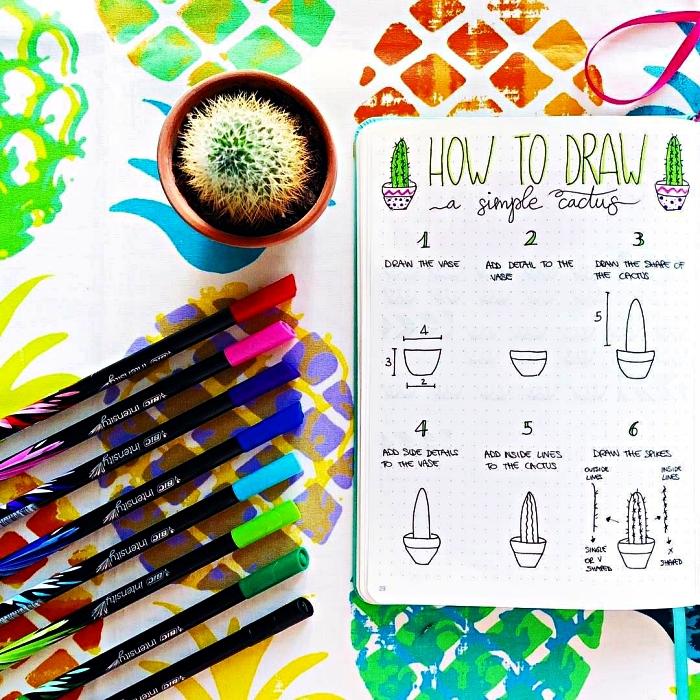 tuto pour dessiner un cactus en 6 étapes, idée créative pour personnaliser son bullet journal avec de petits dessins mignons