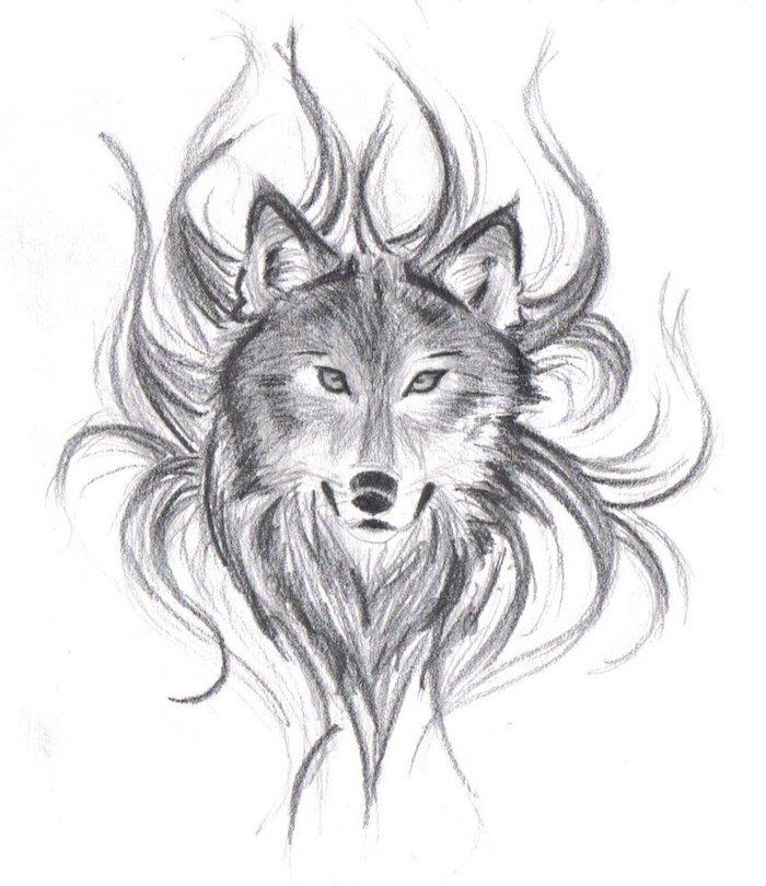 tête de loup en flammes, modele de dessin graphique simple et facile à reproduire par soi meme