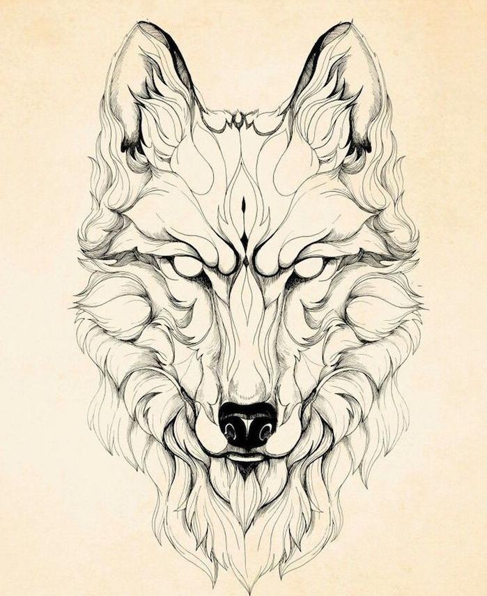symbole de la férocité, idée dessiner un loup demon graphique au crayon noir, le loup satanique