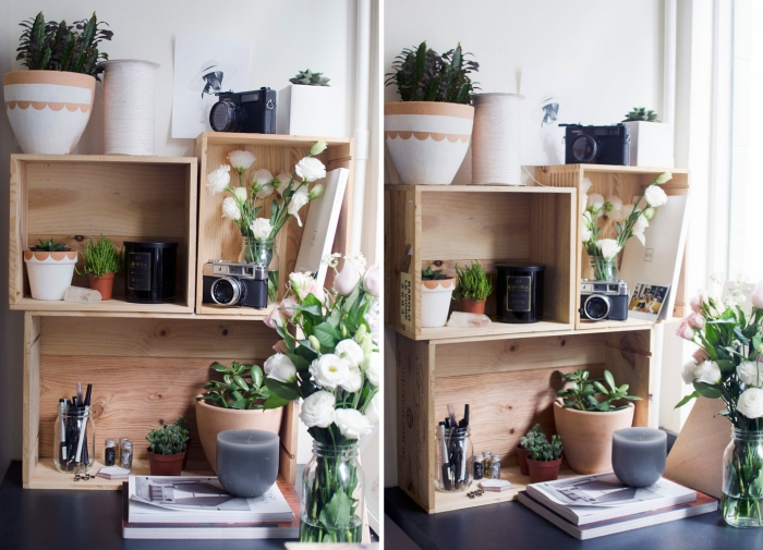 comment faire un rangement de bureau en bois, idée rangement bureau original à faire soi-même, idée déco bureau
