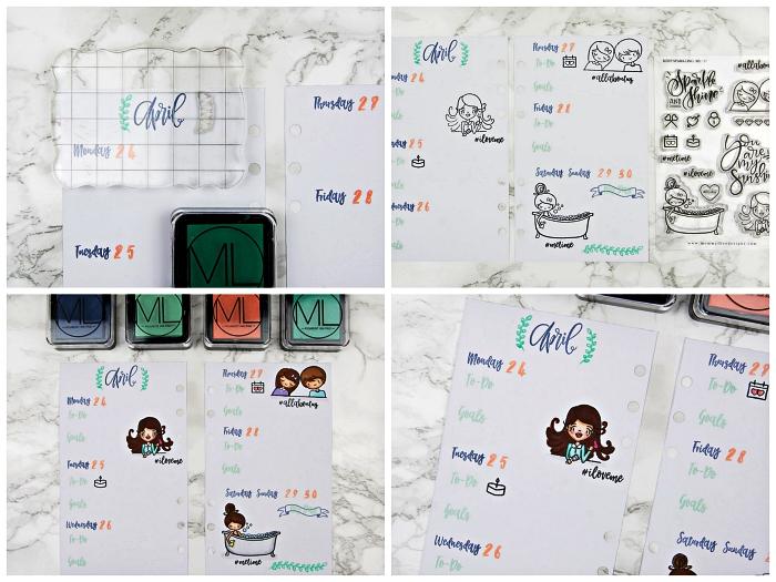 idée pour customiser son agenda avec des tampons lettres, noms des jours de la semaine et bannières, exemple de mise en page du planning de la semaine