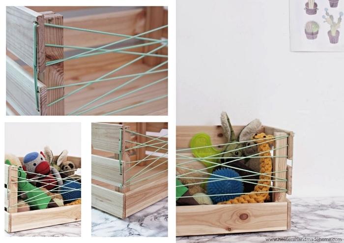 astuces ikea pour les animaux de compagnie, fabriquer un rangement pour jouets avec une caisse ikea en bois et de la corde