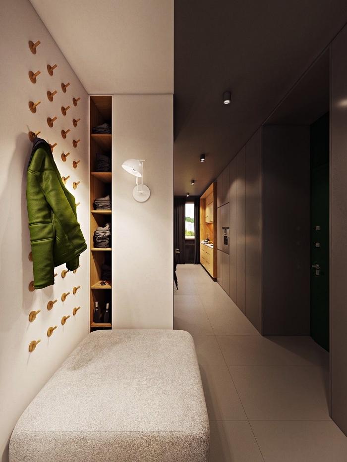quelle couleur peindre un couloir avec beaucoup de portes, déco couloir long et étroit aux murs en blanc et gris