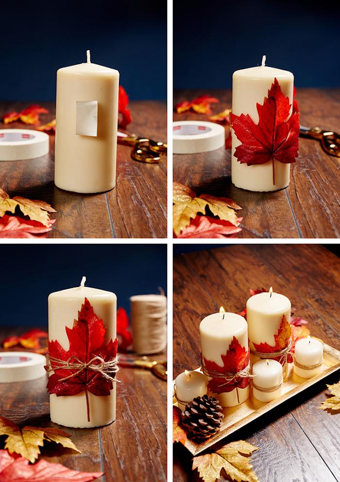 bougie décorée de feuille d automne dans une assiette plateau doré avec des bougies customisées de feuilles mortes et fils de chanvre, pomme de pin