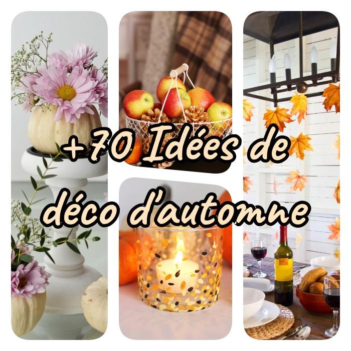 exemples de deco d automne a faire soi meme, vase dans citrouille, panier de pommes et pommes de pin, bougeoir d automne, mobile de feuilles d automne