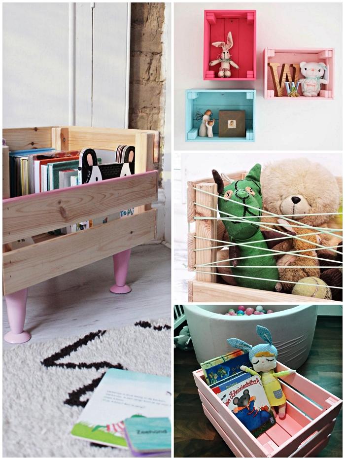 ikea hacks pour la chambre d'enfant avec la caisse en pin knagglig, astuces rangement pour jouets et livres d'enfants avec la caisse knagglig