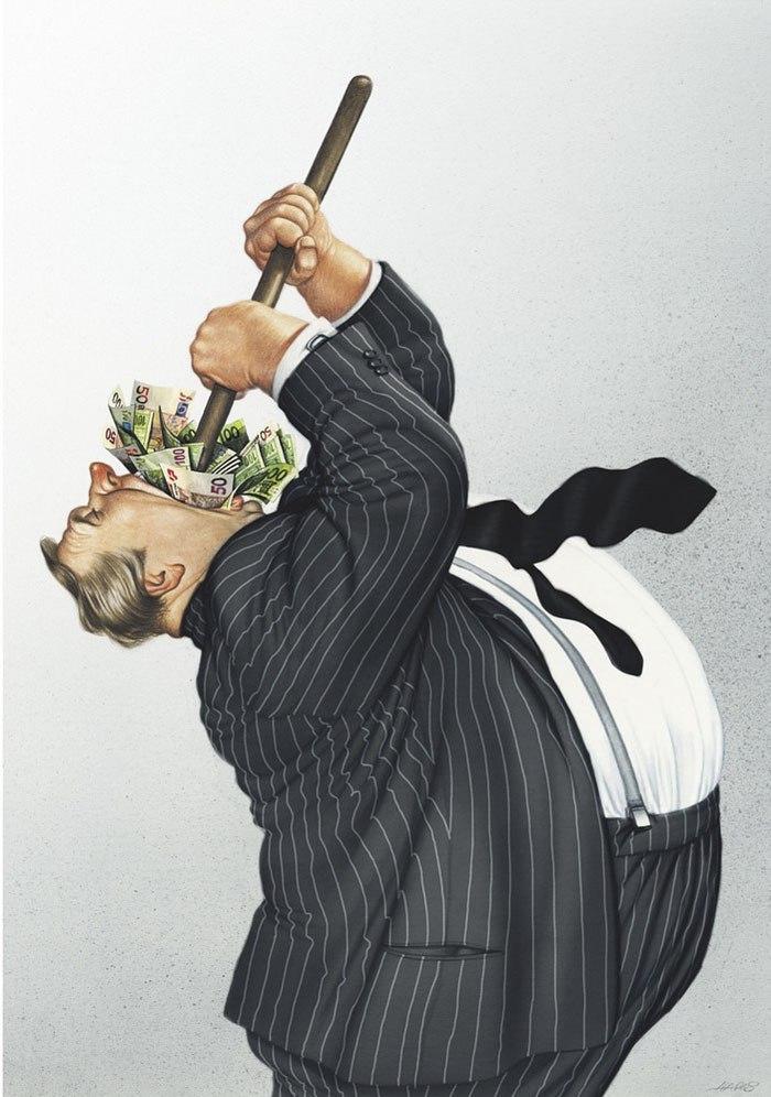 Illustration corporation beaucoup d'argent, dessiner une caricature, dessin réaliste, dessin corps d'homme grosse
