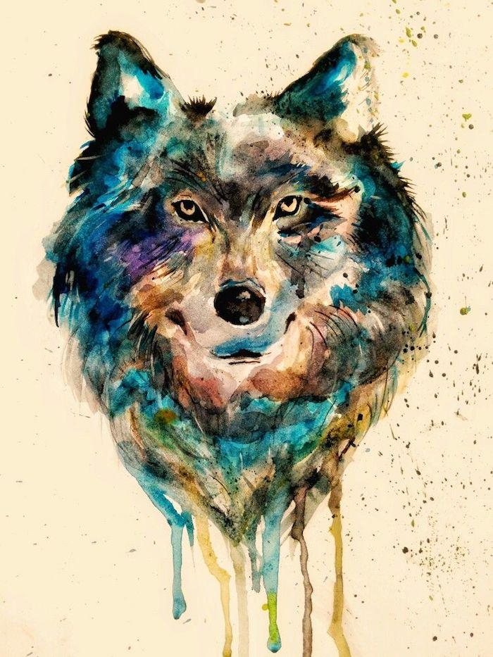 loup dessin couleur peinture aquarelle, couleurs de peinture diluées, exemple dessin de tête de loup simple aux couleurs variées