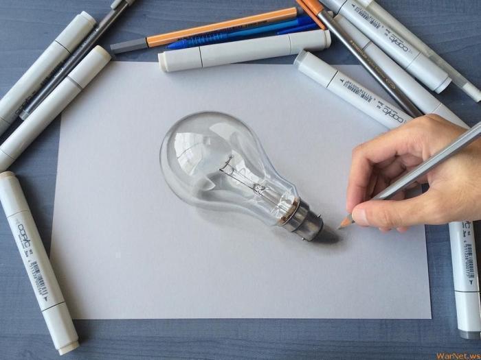 Bulbe électrique photo-réaliste dessin, inspiration dessin 3d realistes dessins des objets