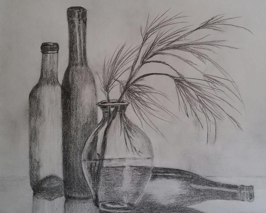 Dessin nature morte, claire obscure inspiration dessin en perspective, deux bouteilles et une vase