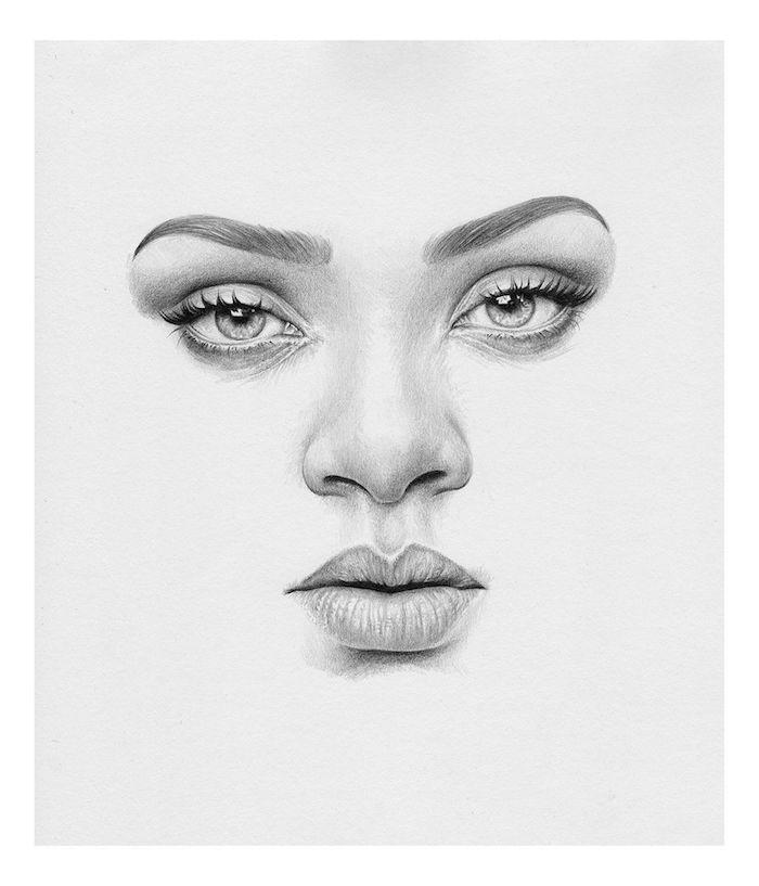 Visage de femme belle, comment dessiner des yeux verts avec crayon noir, apprendre a dessiner un visage, inspiration dessin