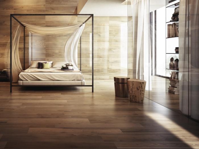 chambre à coucher avec plafond suspendu, revêtement plancher bois stratifié, idée pièce aux murs en bois