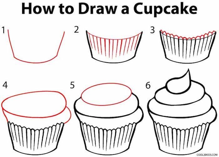 Six étapes cupcake, cool idée dessin cupcake à redessiner, apprendre à dessiner pour les nuls, image de beau dessin