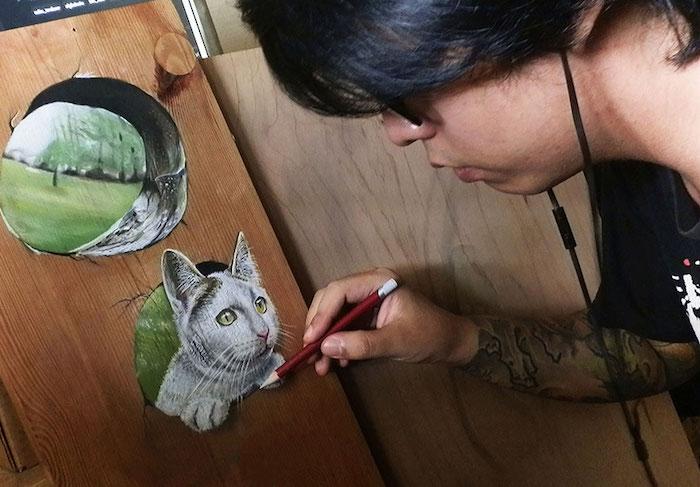 Dessin de chat sur bois, dessin portrait, dessiner un animal et comprendre les proportions