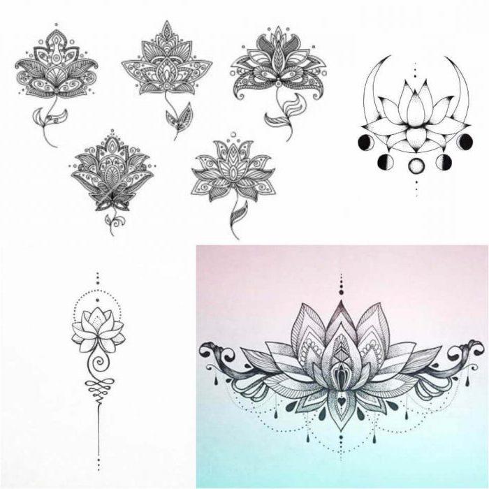 Modèles de dessin pour tatouage, signification fleur de lotus, les meilleures idées de tatouage