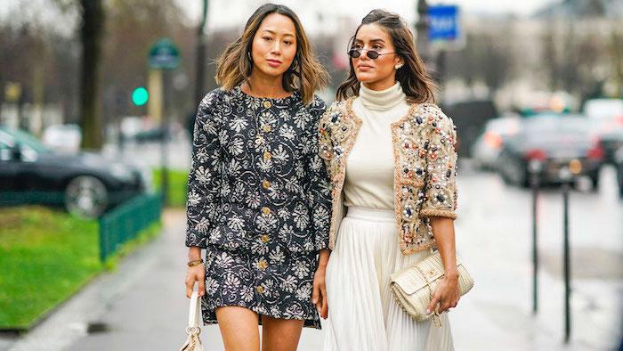 Tenue femme chic, veste coloré cool, tenue blanche trapèze jupe, tenue chic femme, mode automne hiver 2019, cool idée tenue