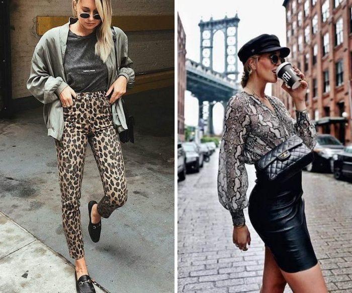 Motif animal deux options tenue classe femme, tendance automne-hiver 2019-2020